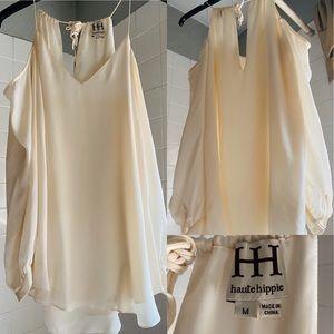 HAUTE Hippie - Cold Shoulder Silk Top Size Medium